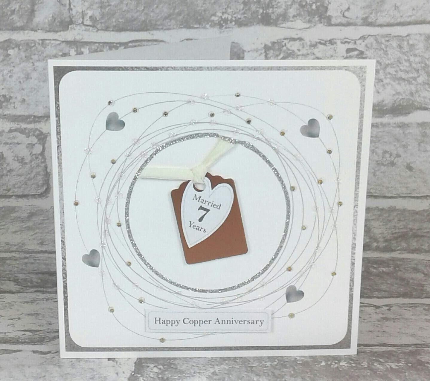 Seventh Personalised Handmade 7th Wedding Anniversary Card Copper Iron