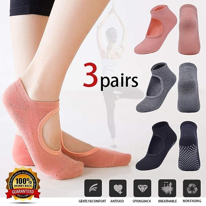 Yoga Socks for Women/Girls, Non Slip Sock with Grips, Non Skid Barre Sock with 3 Pairs, Pilates Socks for Ballet, Dance, Gym, Trampoline, Hospital, ...