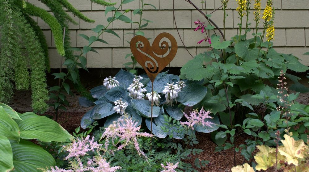Metal Garden Stake- Artisan Crafted, Open Heart- Outdoor Garden Decorations by Oregardenworks by Oregardenworks