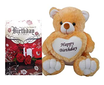 Buy Saugat Traders Happy Birthday Gift Teddy Bear Soft Toys With Greeting Card Online At Low Prices In India