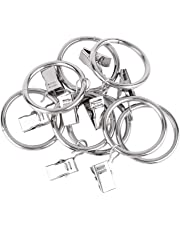 Tbestmax Large Curtain Rings Hanging Ring Clips and Silver Metal Holder for Curtains and Rods