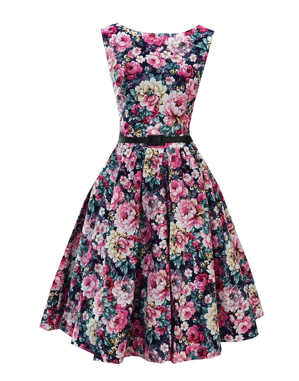 SMITHROAD Damen Kleid 50er Blumendruck Rockabilly Swing Abend Hochzeit Abschlussballkleid