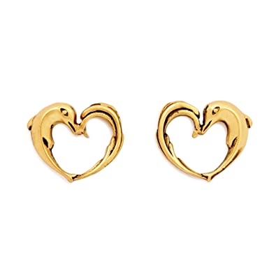 772f5f77d Amazon.com: Charmed Aphrodite's Heart Stud Earrings, Gold Plated ...