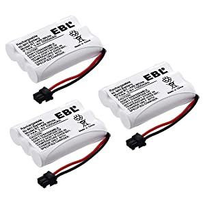 EBL Pack of 3 BT-446 Rechargeable Cordless Phone Replacement Batteries for Uniden BT-446 BT446, BP-446 BP446, BT-1005 BT1005, 3.6V 1000mAh NiMH