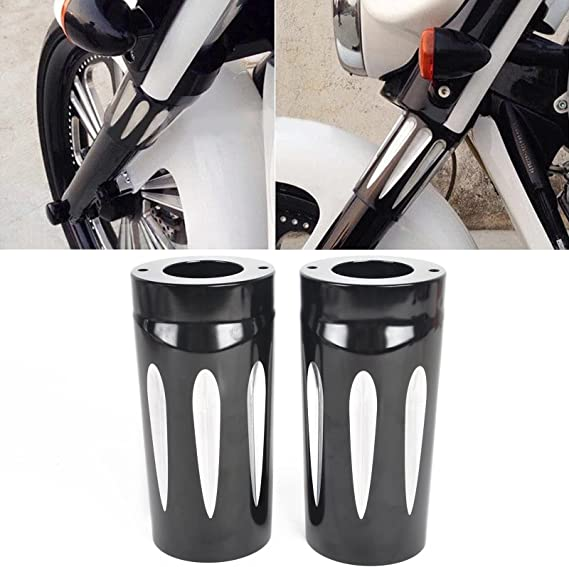 Senkauto Black Deep Cut Upper Fork Boot Slider Cover for Harley Touring Electra Road Glide King 1986-2013