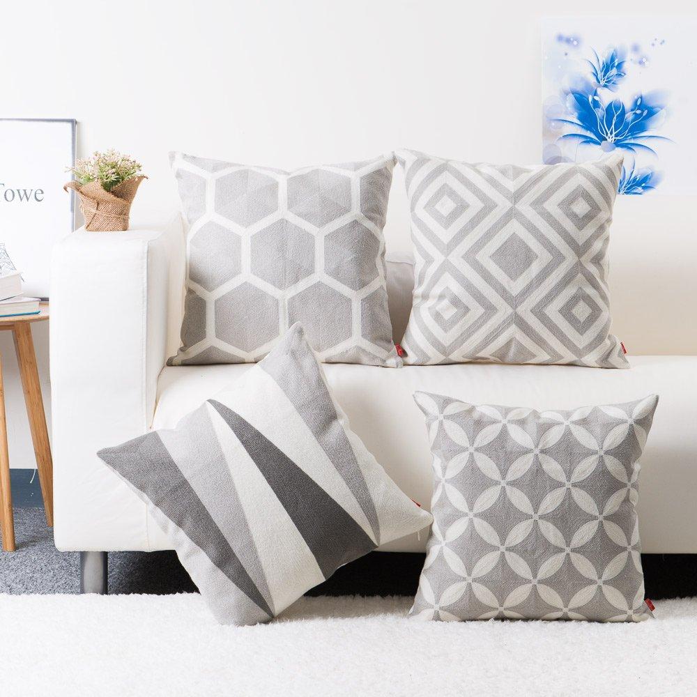 Accent Decor Throw Pillow Case Embroidery Hexagon Design Cushion Cover Grey Set of 2