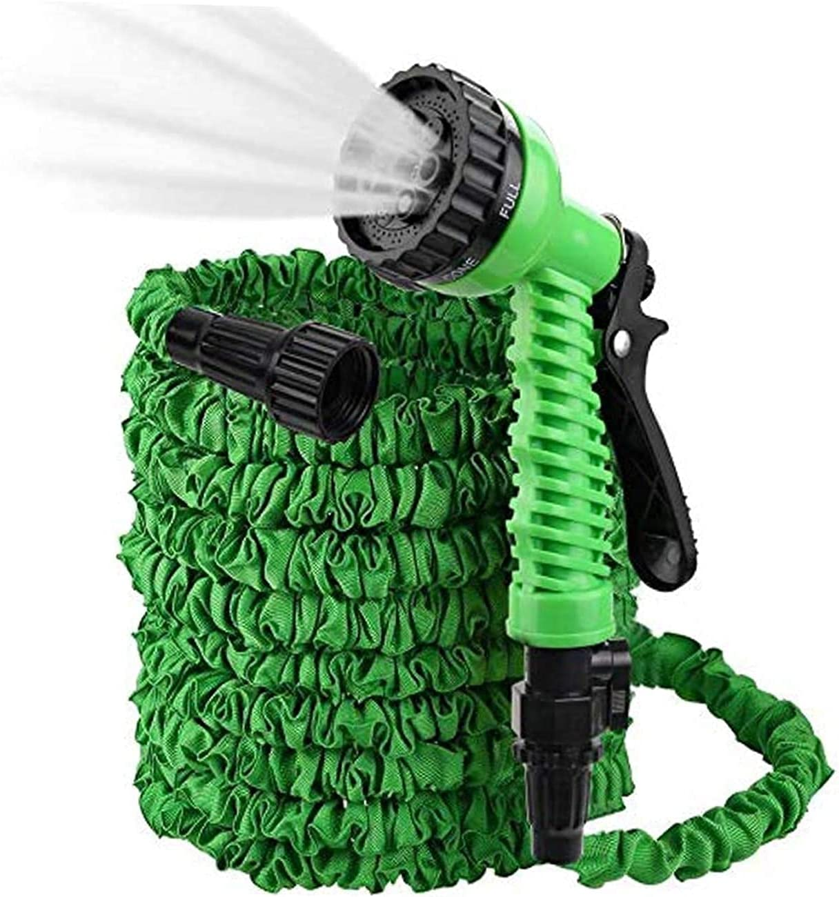 Flexible and Expandable Garden Hose - Strongest Triple Latex Core Free 7 Function Spray Nozzle, Easy Storage Kink Free Water Hose (Green, 25 Feet)