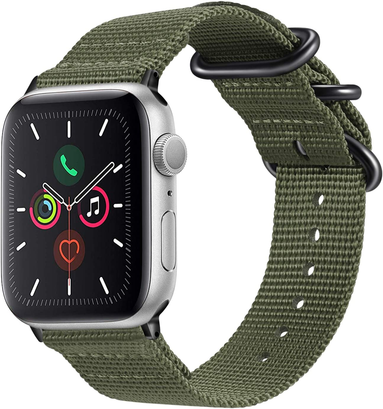 Fintie Band Compatible with Apple Watch 44mm 42mm Series 6/5/4/3/2/1 iWatch SE, Lightweight Breathable Woven Nylon Sport Wrist Strap with Metal Buckle Compatible /w All Versions 44mm 42mm Apple Watch