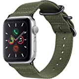 Fintie Band Compatible with Apple Watch 44mm 42mm, Lightweight Breathable Woven Nylon Sport Loop Wrist Strap with Metal Buckle Compatible with Apple Watch Series 4 Series 3 Series 2 Series 1, Olive