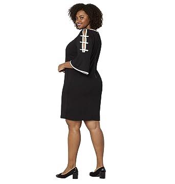 Avenue Women\'s Black White Ladder Sleeve A-Line Dress at ...