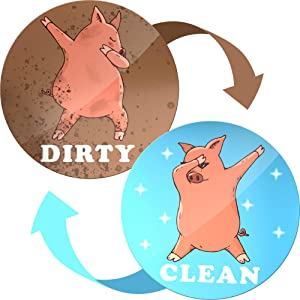 Dishwasher Magnet Clean Dirty Sign Indicator - Double Sided Flip - With Bonus Metal Magnetic Plate