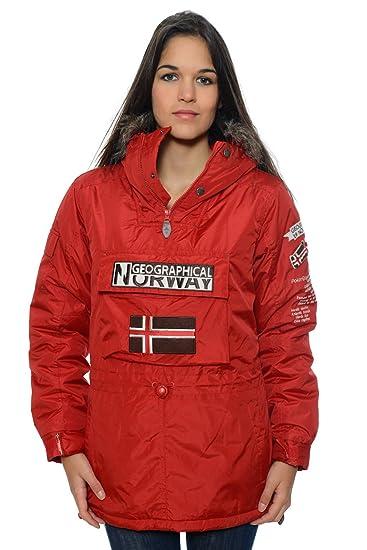 Geographical Norway – Parka de mujer, color rojo: Amazon.es: Ropa y accesorios