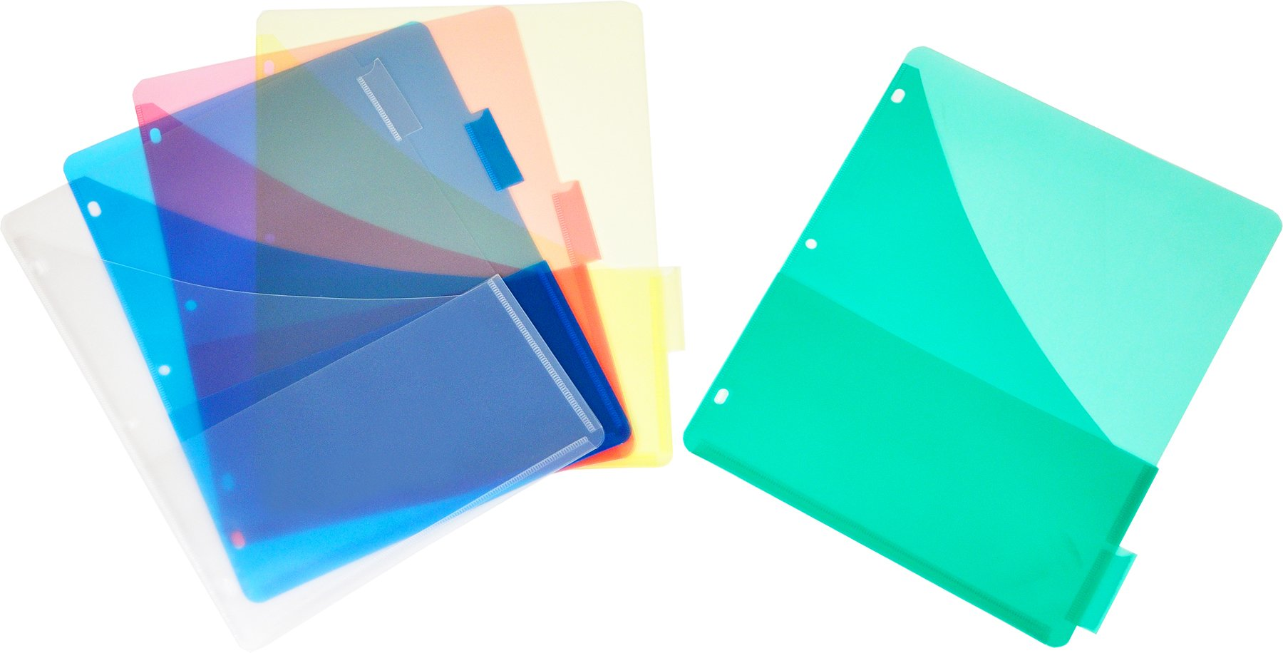 Lion Plastic Pocket Dividers with Tabs, Double Pocket, 5-Tab Set, 1 Set (96400)