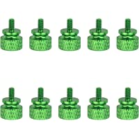 Favordrory 6#-32 Anodized Aluminum Thumbscrews, Computer Case Thumbscrews, Thumb Screws, Green, 10 PCS