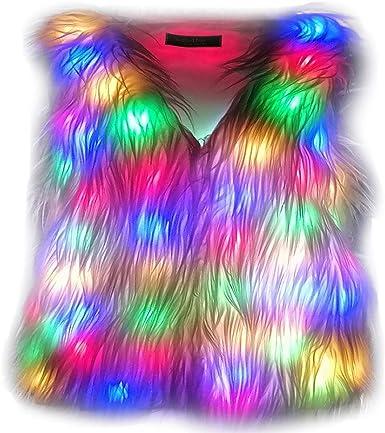 i-Furzone Chalecos de Pelaje sintética con LED para Disfraz ...