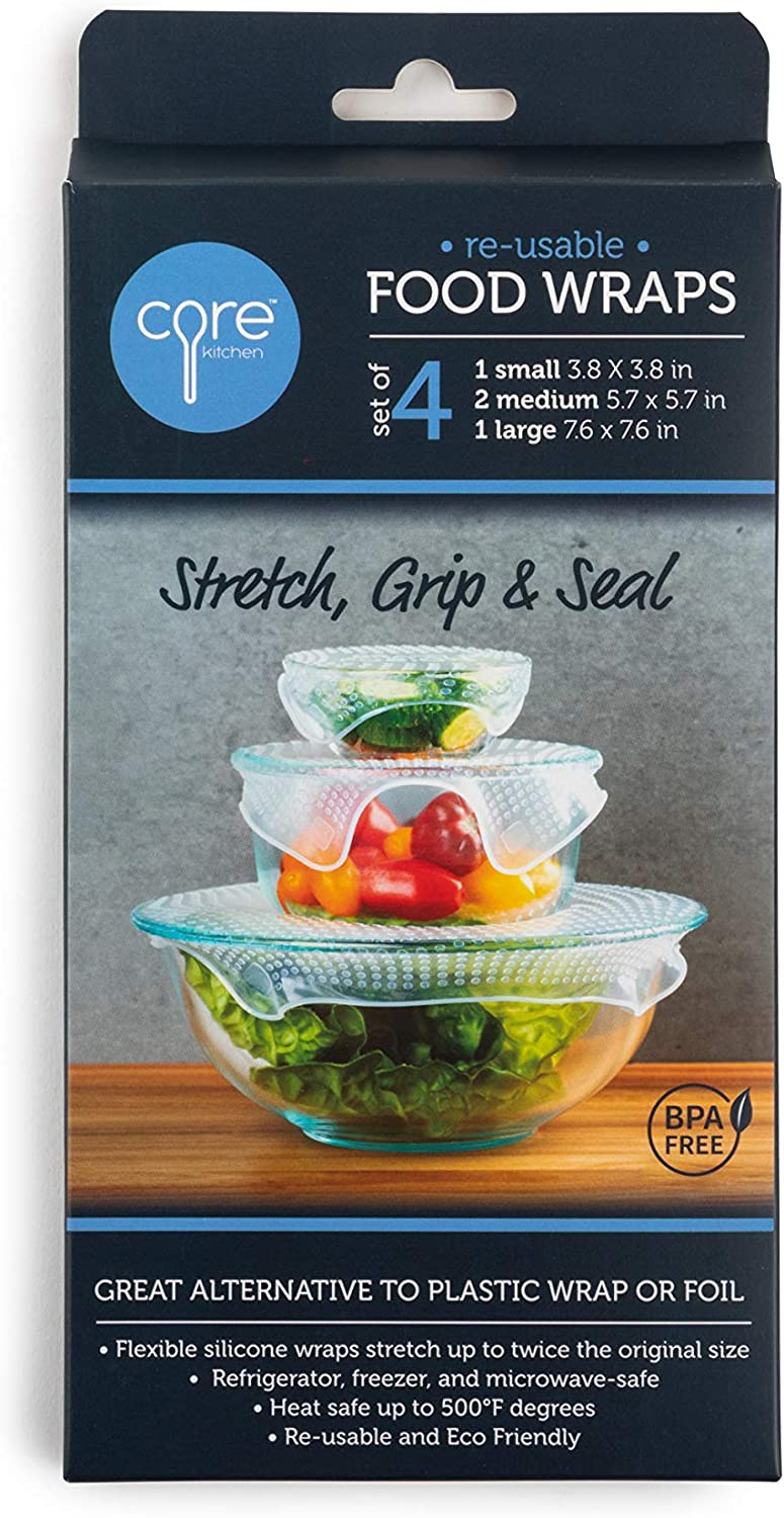 Core Home 4-pc. Reusable Silicone Stretch, Grip, and Seal Clear Food Wraps, Great Alternative to Plastic Wrap or Foil 3 sz. Small, Medium, Large