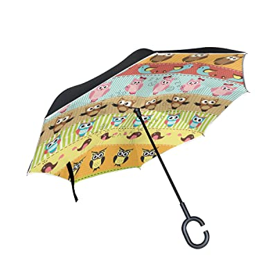 AHOMY Owl Bird Cartoon Large Double Layer Inverted Umbrella Windproof Travel Umbrella