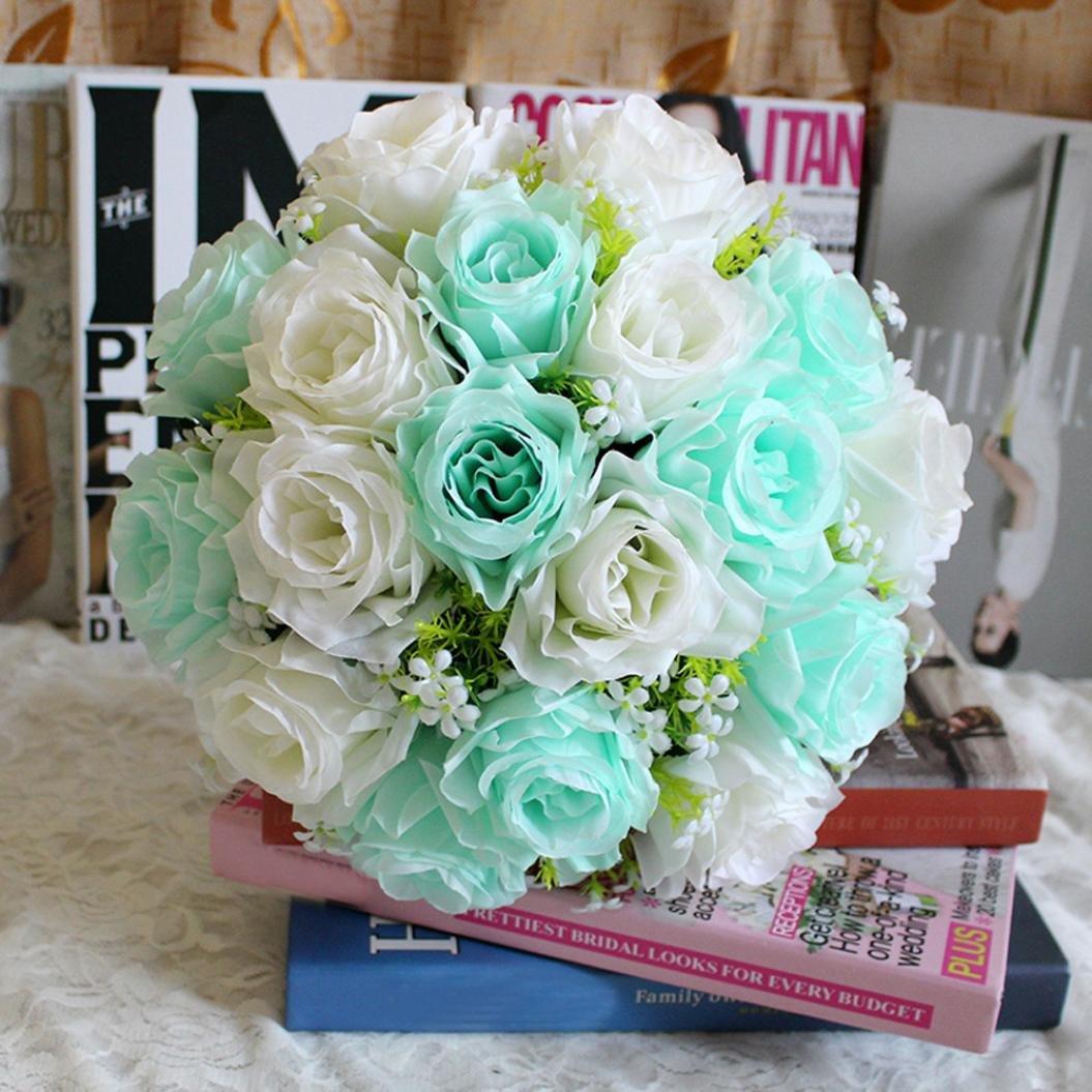 Molyveva 15 Length 18 Flower Heads Artificial Silk Roses Flowers Bridal Bouquet Rose Home Wedding Decor