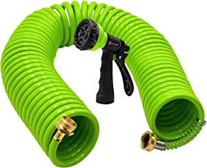 AUTOMAN-Garden-Water-Hose-Recoil,50 Feet EVA Curly Water Hose with Brass Connectors,Watering Hose Coil,Includes 7-Pattern Function Sprayer,Retractable,Corrosion Resistant Garden Coil Hose.Green