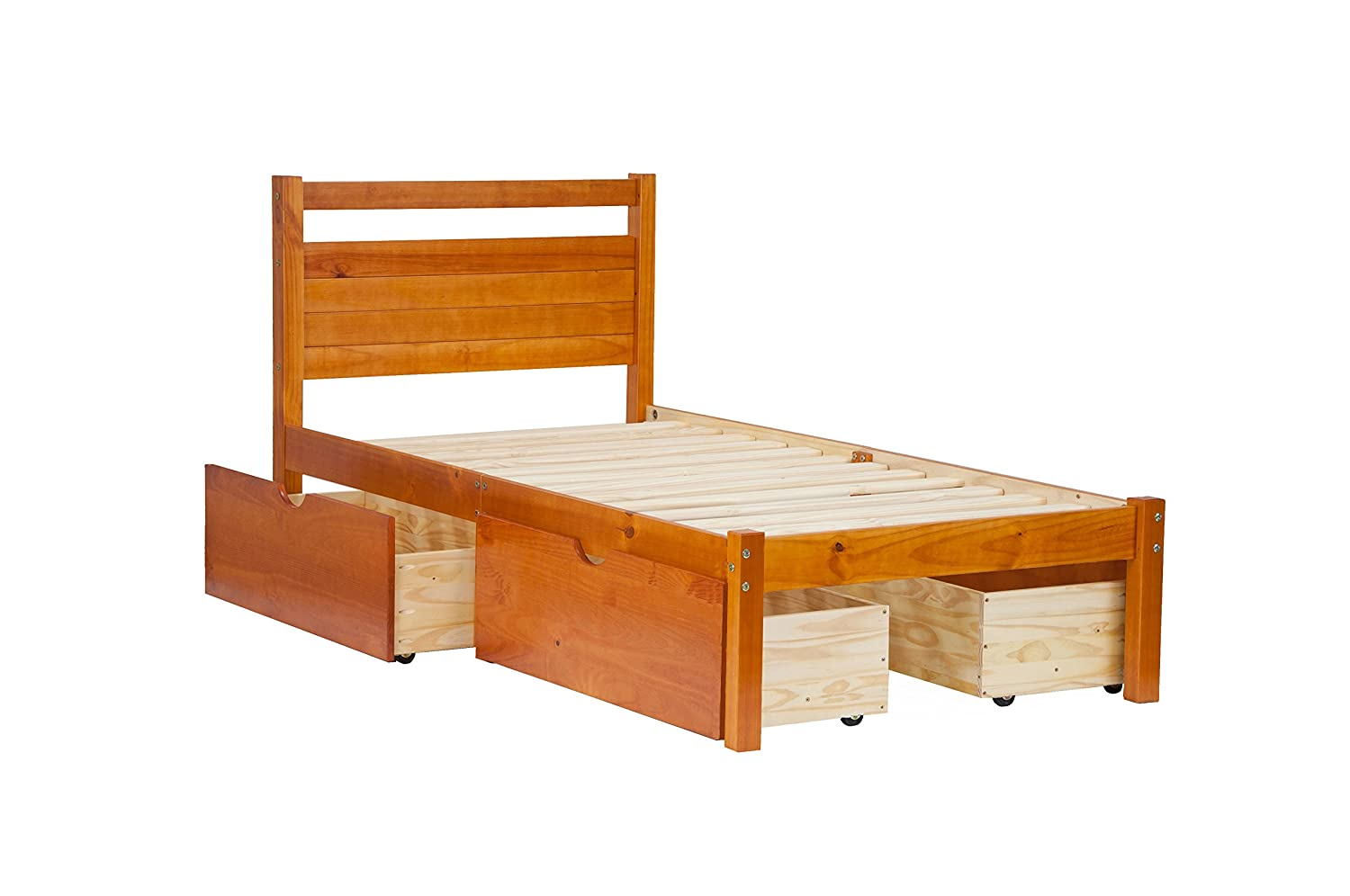 "Amazon.com: 100% Solid Wood Bronx Twin Bed-in-a-Box by Palace Imports, Honey Pine Color, 41.5""W x 39.5""H x 79""L, 12 Slats Included."