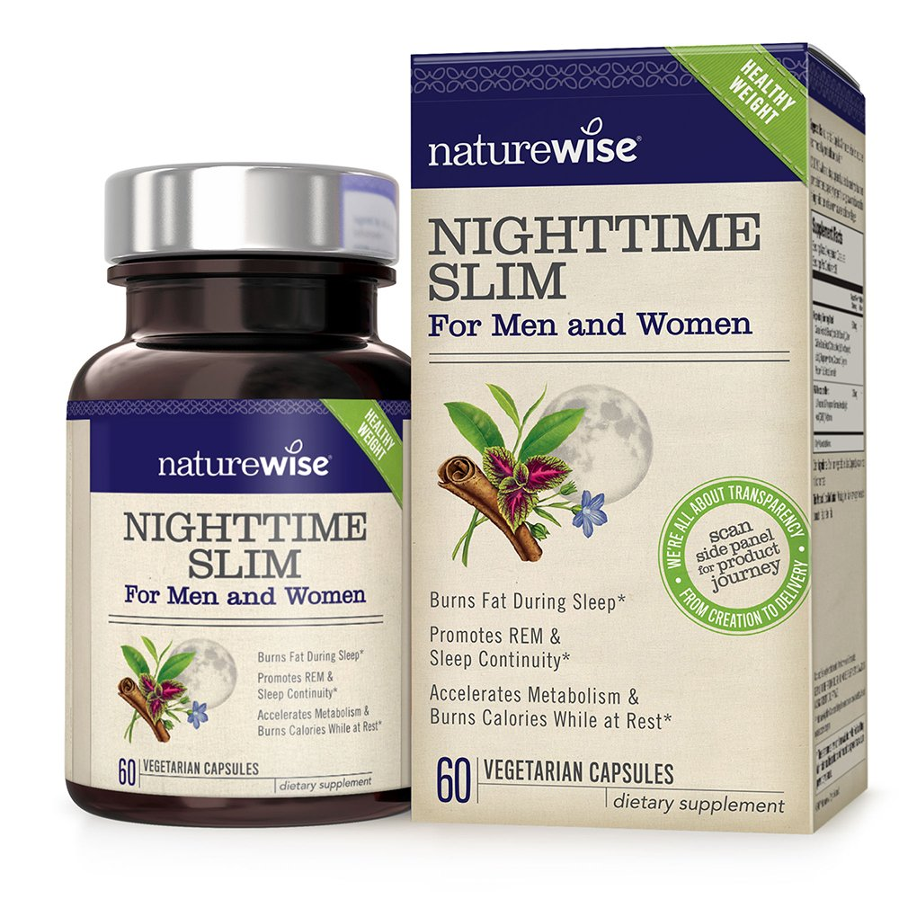 NatureWise NightTime Slim with Capsimax, Burn 116 Calories While You Sleep, Promotes a Restful Sleep and Burns Fat, Reduces Hunger, Non-GMO, Vegetarian and Gluten Free, 60 count