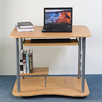 Attrayant Bonnlo Mobile Laptop Desk Computer Table In Wheels With Keyboard Tray For  Home Office,Black