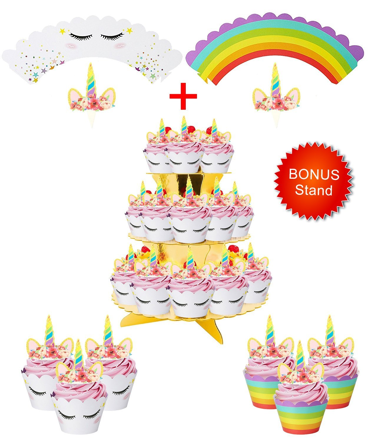 Rainbow Unicorn Cupcake Toppers and Wrappers w BONUS Gold Cupcake Stand - Themed Glitter Horn Cake Topper + Rainbow Wrapper DIY Baking Decorations Kit, Kids Birthday Party Supplies Accessories| 48pcs by Quality Party Supplies (Image #1)