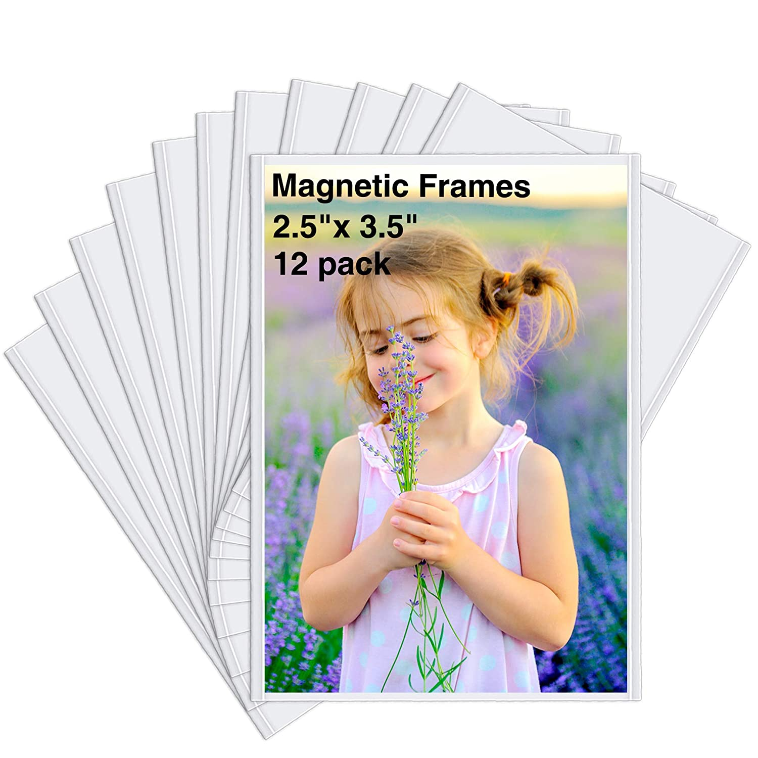 HIIMIEI 12 Pack 2.5x3.5 Wallet Magnetic Picture Refrigerator Frames for Polaroid instax Photos,2x3 Small Fridge Magnet Photo Frames Pocket