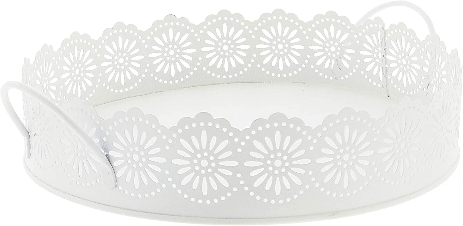 """Lucky Winner Round White Metal Decorative Tray with Scalloped Edges, 10"""""""
