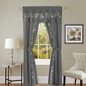 "Achim Home Furnishings Fairfield 5 Piece Window Curtain Set, 55"" x 84"", Grey"