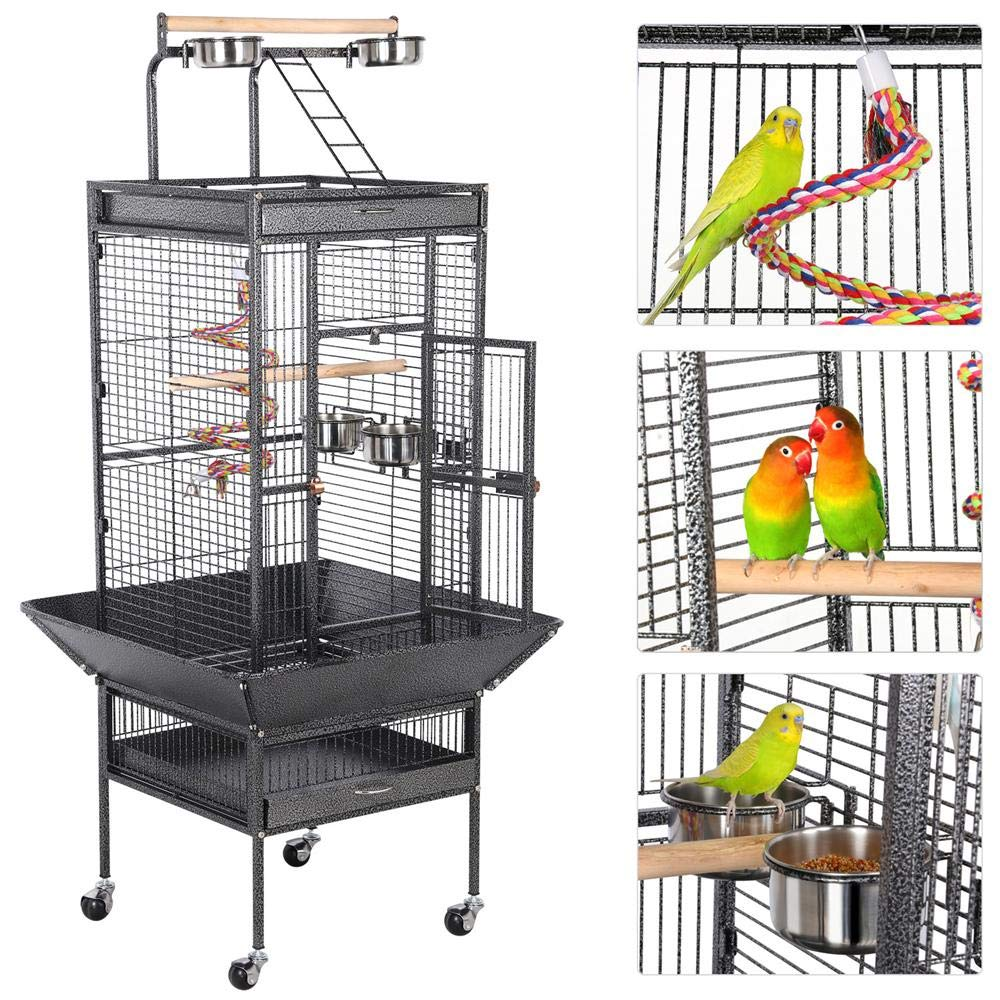 Yaheetech 61-inch Rolling Wrought Iron Large Bird Cages for Small Quaker African Grey Amazon Parrots Cockatiels Sun Parakeets Green Cheek Conures Doves Lovebirds Budgies Play Top Bird Cage with Stand by Yaheetech