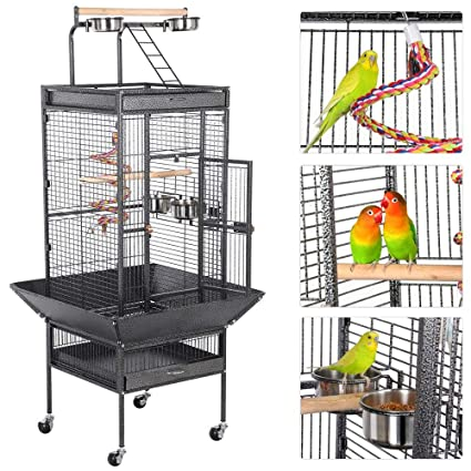 Yaheetech Rolling Wrought Iron Select Large Bird Cages for Small Parrots  Cockatiels Sun Parakeets Green Cheek Conures Lovebirds Budgies Finches  Canary