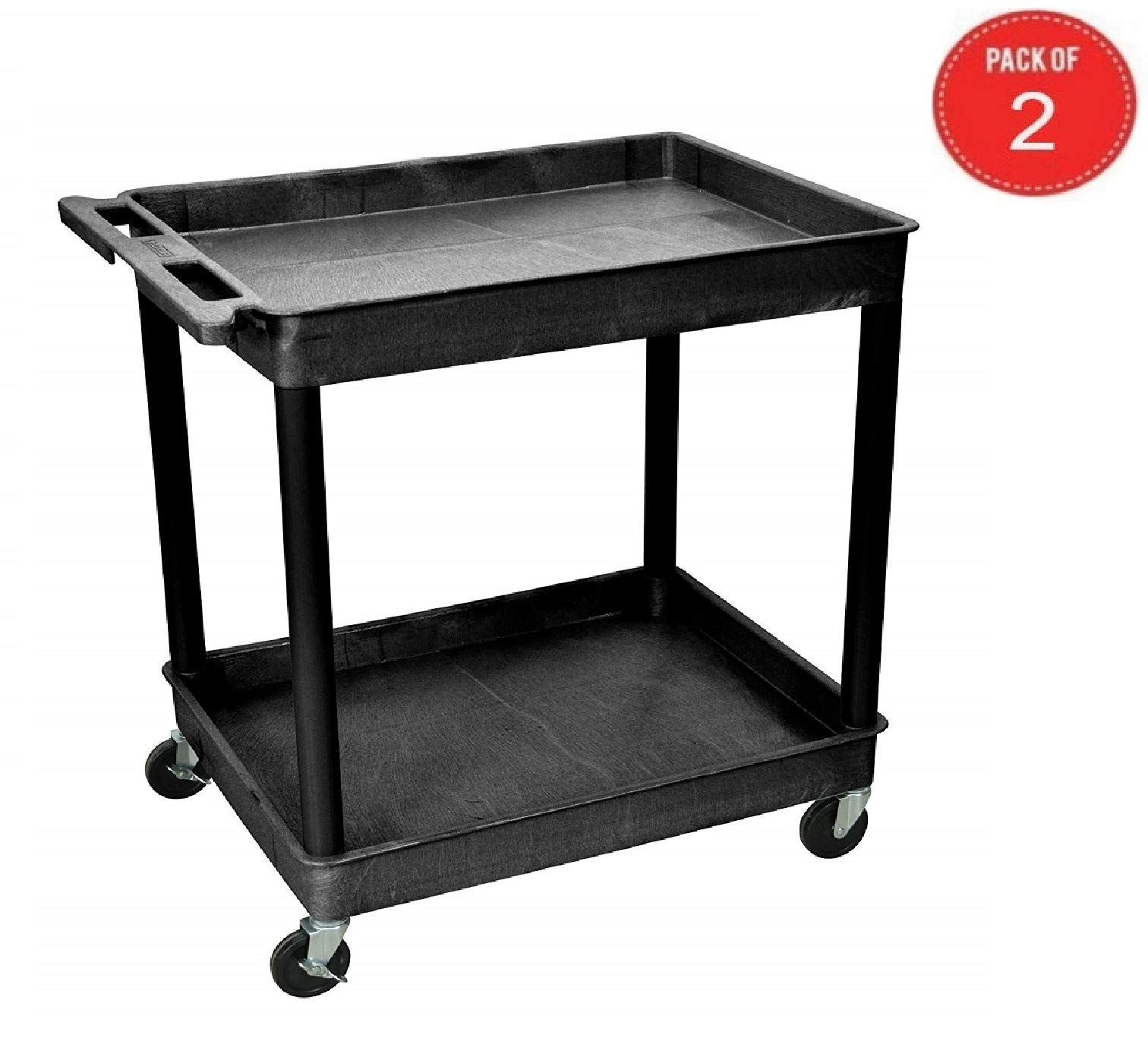 2 Shelf Large Tub Cart (Black- Pack of 2)