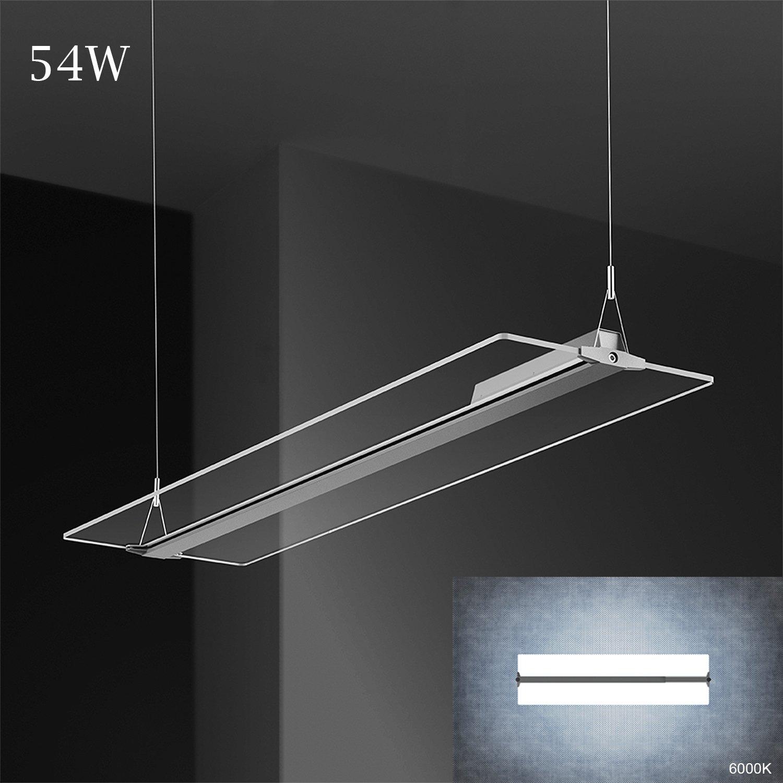 KJLARS LED Pendelleuchte Büroleuchte Deckenleuchte 54W Hängeleuchte ,120031546mm, 6000K Acryl stoff Panelleuchte für Büro ,Essenzimmer,Arbeitszimmer