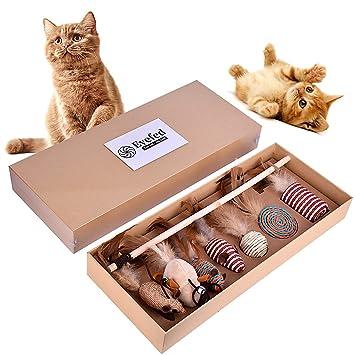 Eyefed Juguete del Gato Caja de Regalo del Juguete del Gato, Juguete Interactivo de la Varita del Gato,7 Piezas de reemplazable Juego de Regalo: Amazon.es: ...