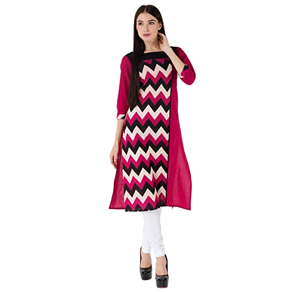 be793a99ad3 RICHLEY 3 4 Sleeves Women s Printed Casual Cotton Kurti  Amazon.in  Clothing    Accessories