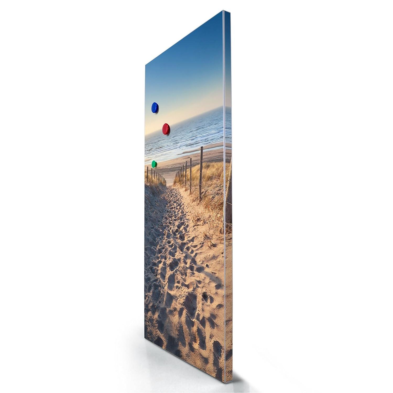 banjado Design Magnettafel gro/ß Pinnwand magnetisch mit Magneten und Montageset Magnetwand grau 78x37cm grau Magnetpinnwand mit Motiv Nordseestrand