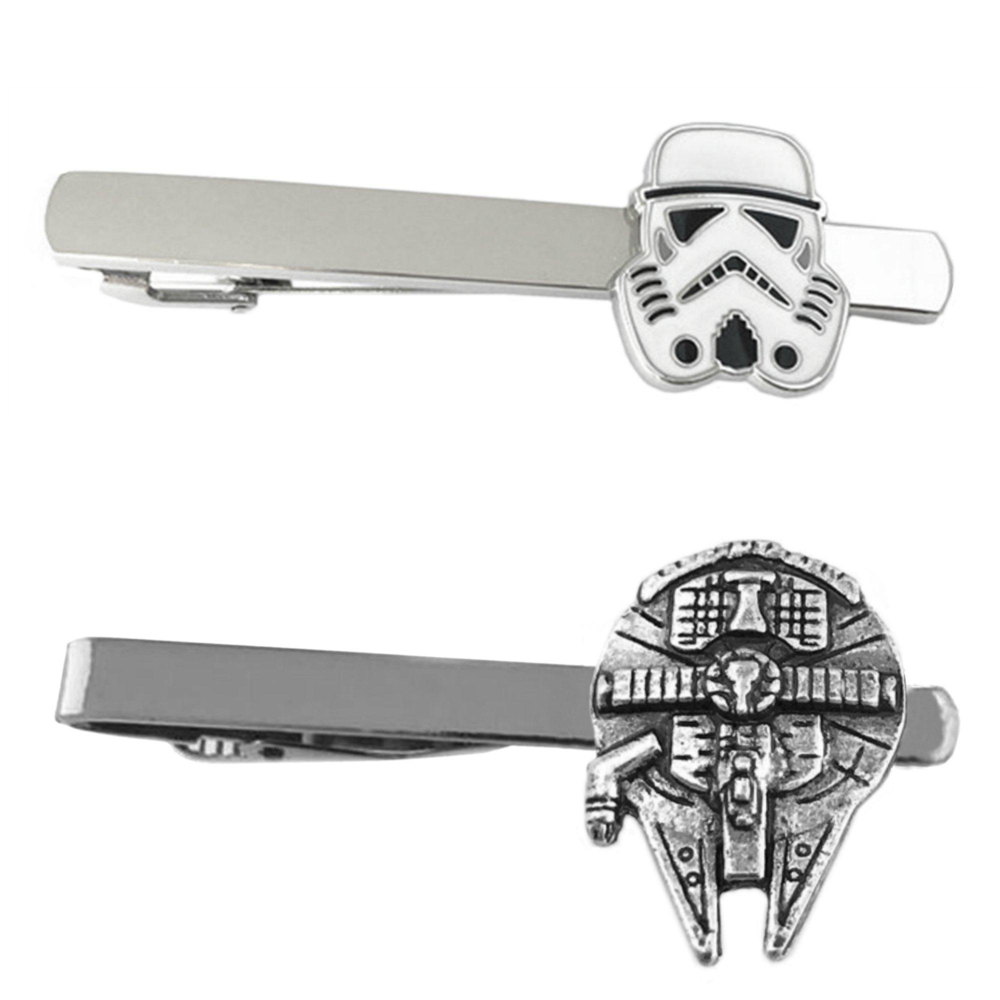 Outlander Star Wars - Storm Trooper & Millenium Falcon - Tiebar Tie Clasp Set of 2 Wedding Superhero Logo w/Gift Box