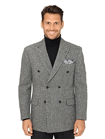 41896f8971b Paul Fredrick Men s Harris Tweed Herringbone Coat Black White 46 Short