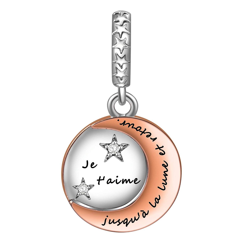 SIMPORDS Charm Pendentif Mère Femme Gravé Médaillon avec Lune et Etoiles Cadeau pour Maman FR-SPC015