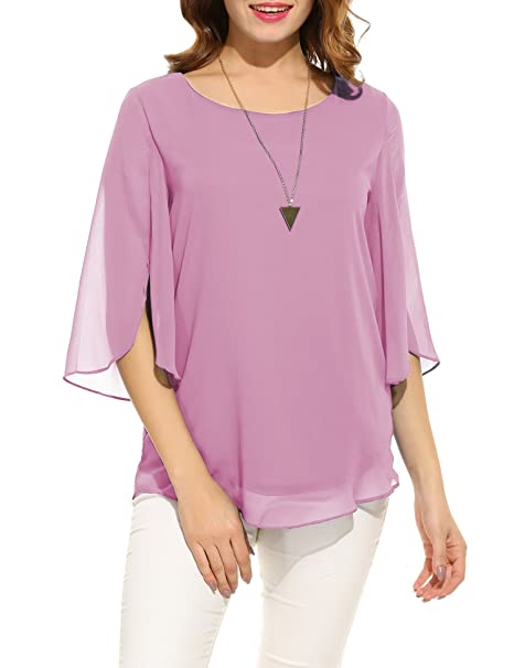 f4884e1f135 Hount Womens Casual Summer Short Sleeve Plus Size Chiffon Tunic Top Blouses  (Small