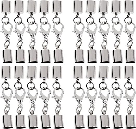 Baoblaze 20 Pedazos Extremos Tapas para Cord/ón de Cuero Pulsera Brazalete DIY Bricolaje