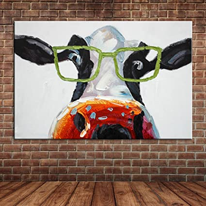 cf7309efee13 IPLST  Funny Cows Wear Glasses Oil Painting on Canvas Hand Painted Abstract  Animal Modern Large