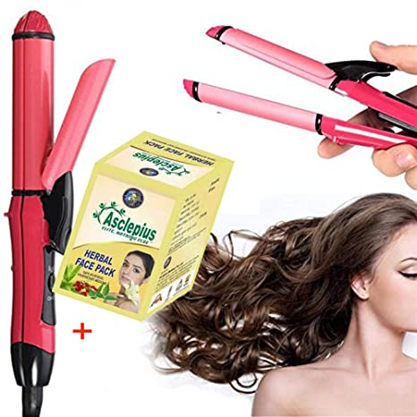 ASTRECA 2 In 1 Hair Straightener and Curler Combo for Women with Ceramic Plate