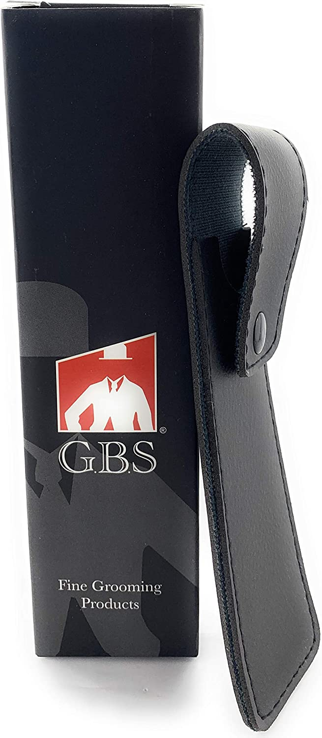 GBS Protective Leather Shaving Razor Case - Black with Snap Button for Secure Travel. Provides Storage and Protection. Stores Shavette, Barber and Straight Razors. Quality Addition to Any Shaving Kit