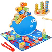 Aitey Fishing Game, 5 in 1 Wooden Magnetic Fishing Toys Montessori Sorting Stacking...