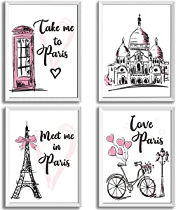 4 Pieces Paris Wall Art Prints, Pink Eiffel Tower Telephone Booth Romantic Paris Theme Room Unframed Art Poster Decor for Girls Living Room Bedroom Bathroom Kitchen Office Decor, 8 x 10 Inch