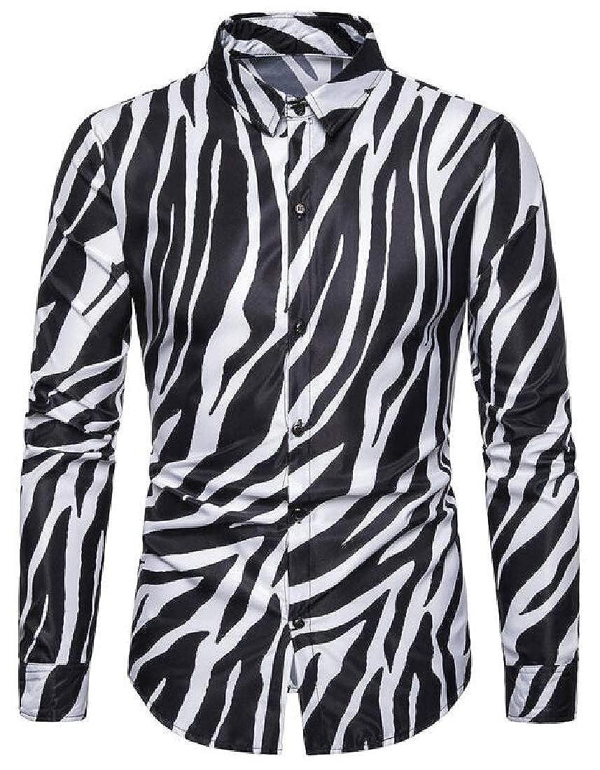 MOUTEN Mens Regular Fit Button Down Zebra-Print Long Sleeve Club Perform Shit