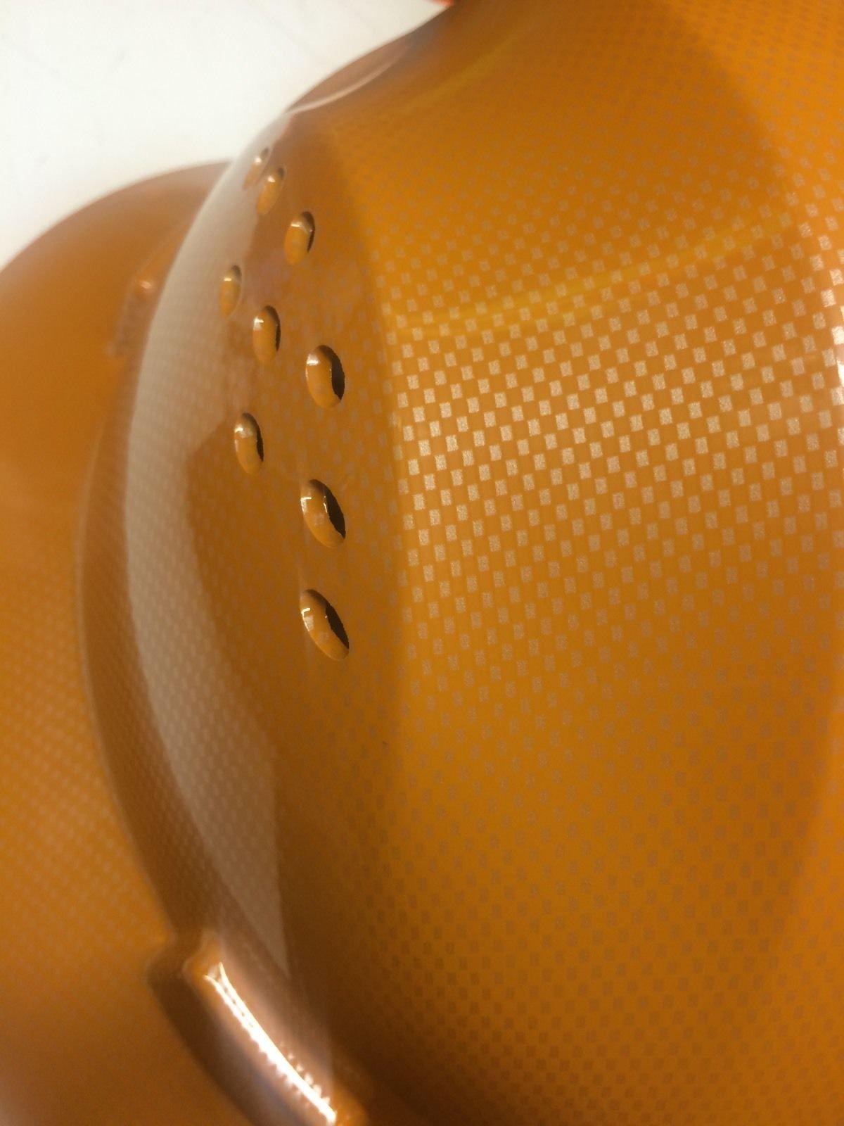HNTE-TAN Fiberglass Hard Hat Safety Full Brim Helmet, Nylon Ratchet Suspension, 4-Point, {Top Impact} Safety Hard Hat Cool Air Flow Vent System by Truecrest Safety Helmet (Image #3)