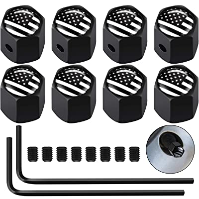 Lainrrew 8 Pcs American Flag Valve Stem Caps, Wheel Valve Covers Tire Cap Dust Cover with Rubber Ring for Cars Bicycles Vehicles: Sports & Outdoors